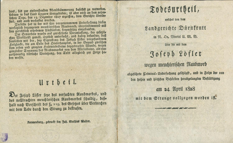 Todesurteil über Joseph Löffler wegen meuchlerischen Raubmord