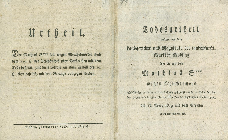 Todesurteil über Matthias S wegen Meuchelmord