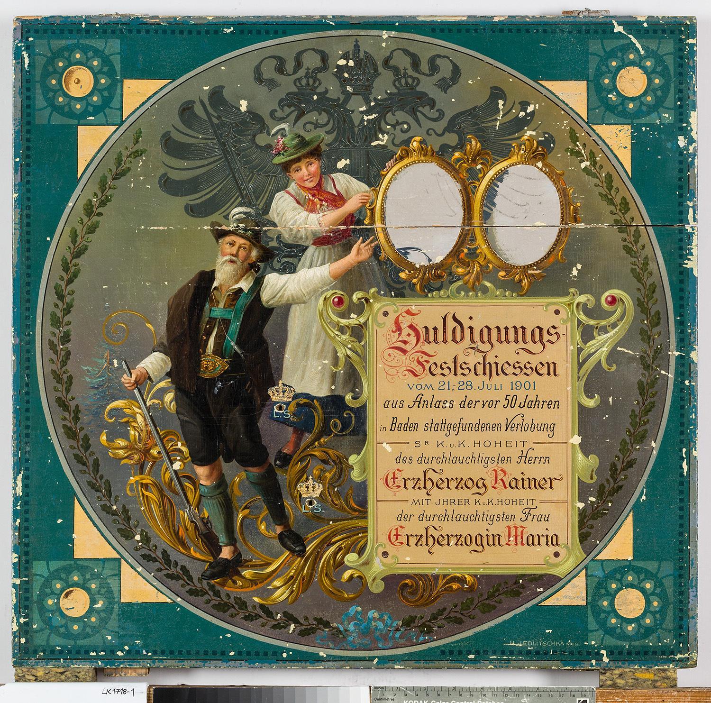 Schützenscheibe zum Huldigungs-Festschiessen in Baden bei Wien 1901