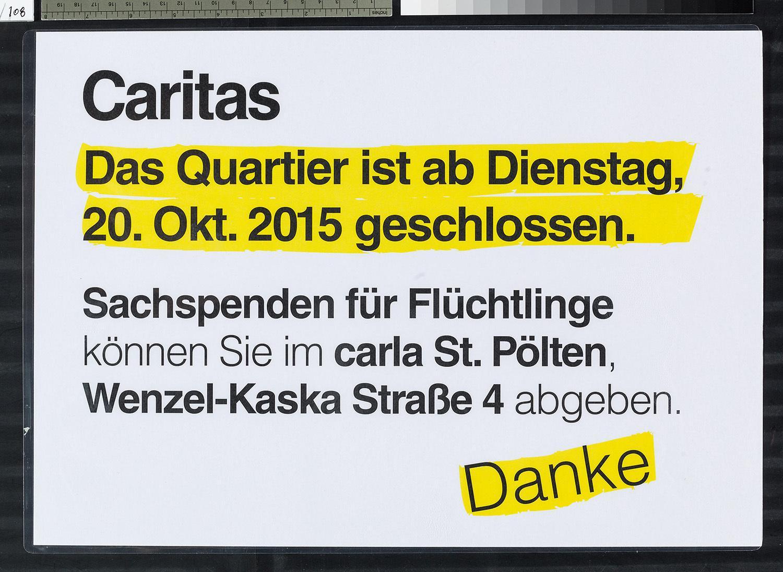 """""""Das Quartier ist ab Dienstag, 20. Okt. 2015 geschlossen"""""""