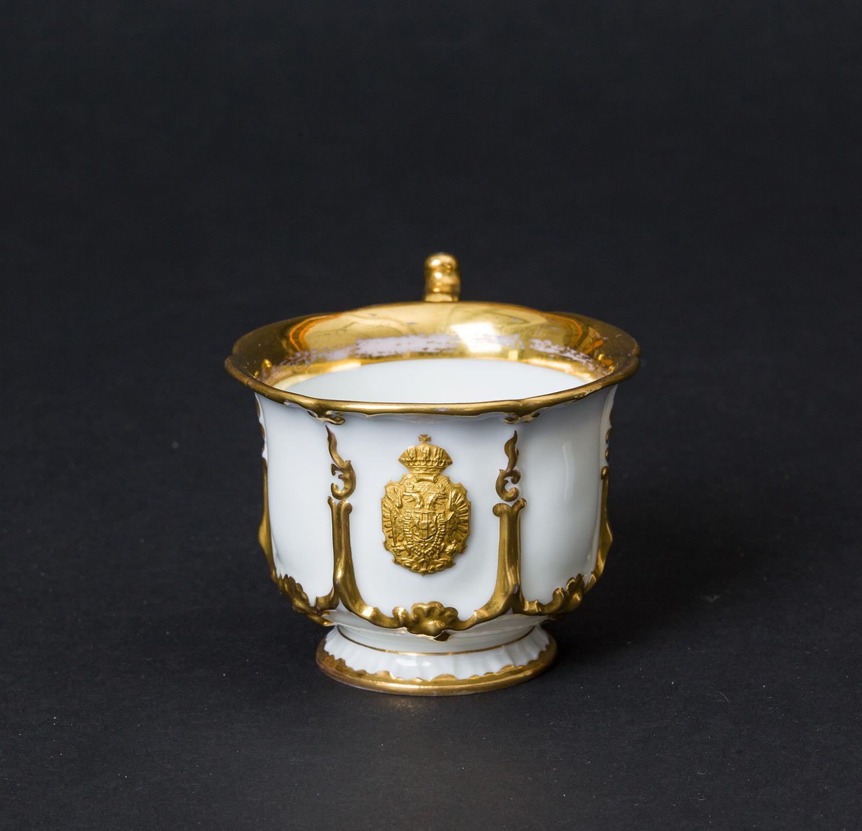 Kaiser Ferdinand / Kaiser Franz Joseph I. und Kaiserin Elisabeth - Kaiserliches weiß-goldenes Service. Mokkatasse