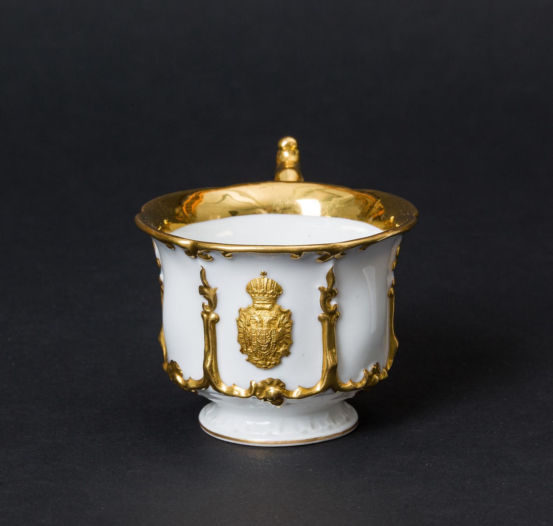 Kaiser Ferdinand / Kaiser Franz Joseph I. und Kaiserin Elisabeth - Kaiserliches weiß-goldenes Service. Kaffeetasse