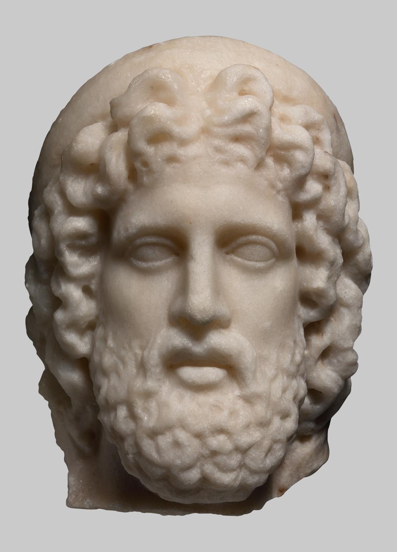 Kopf einer Statuette des Aesculap