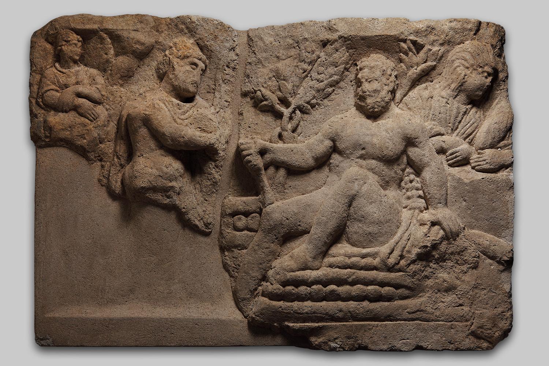 Relief mit Hercules auf dem Scheiterhaufen
