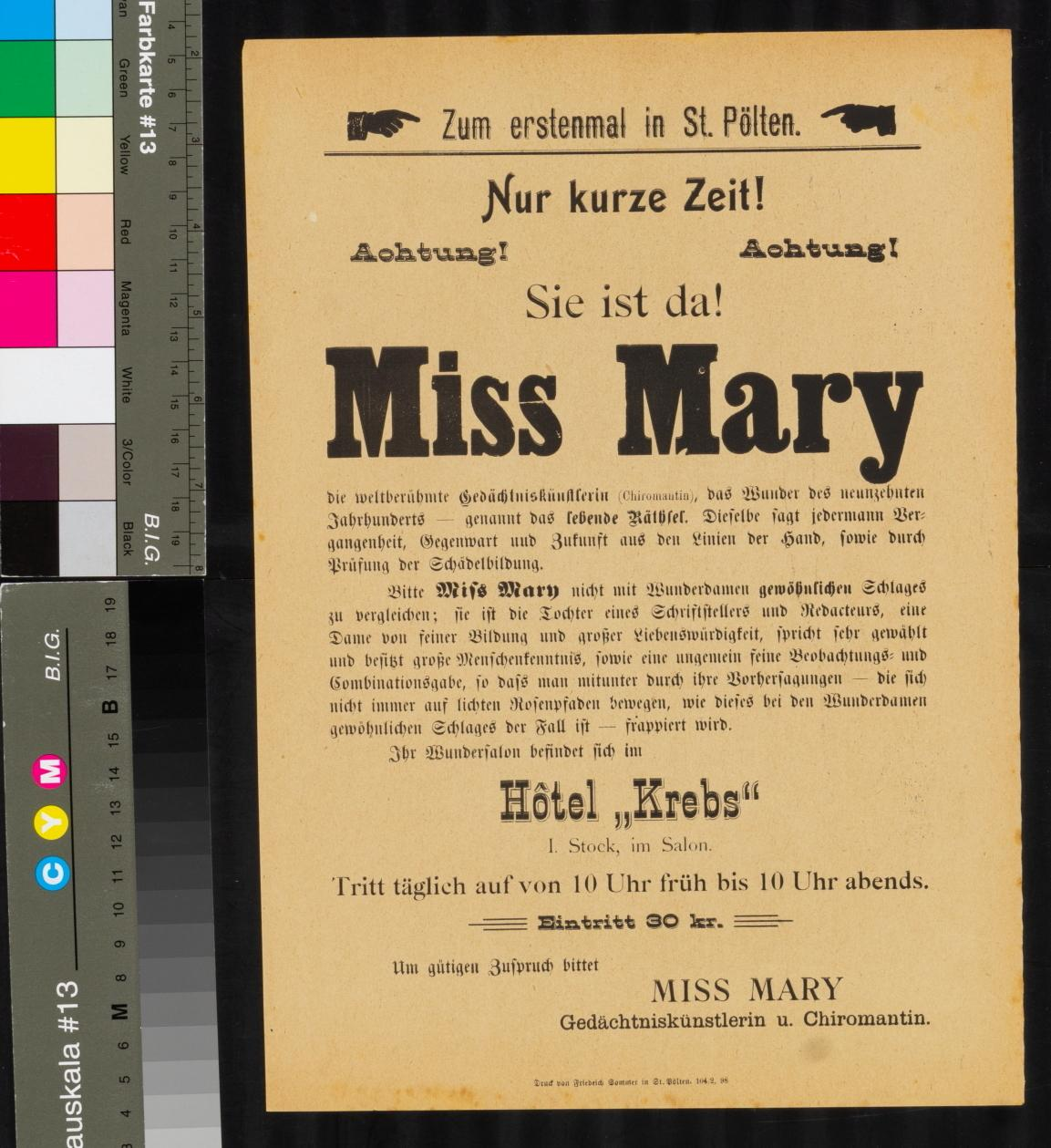 Veranstaltungsankündigung, Abend mit Miss Mary, der Gedächtniskünstlerin, St. Pölten, Hotel Krebs