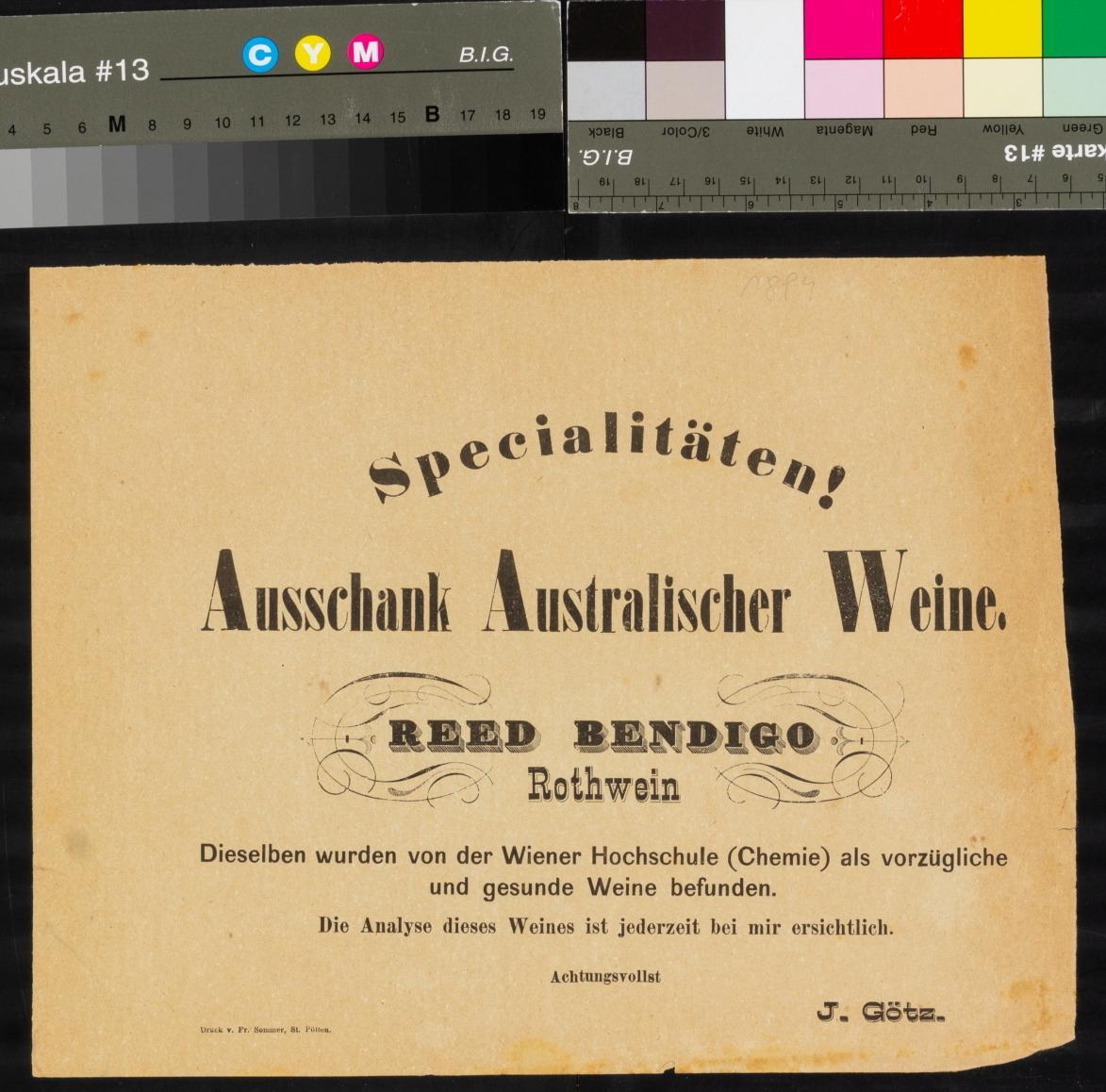 Weinausschanksankündigung, Australische Weine, bei J. Götz, St. Pölten