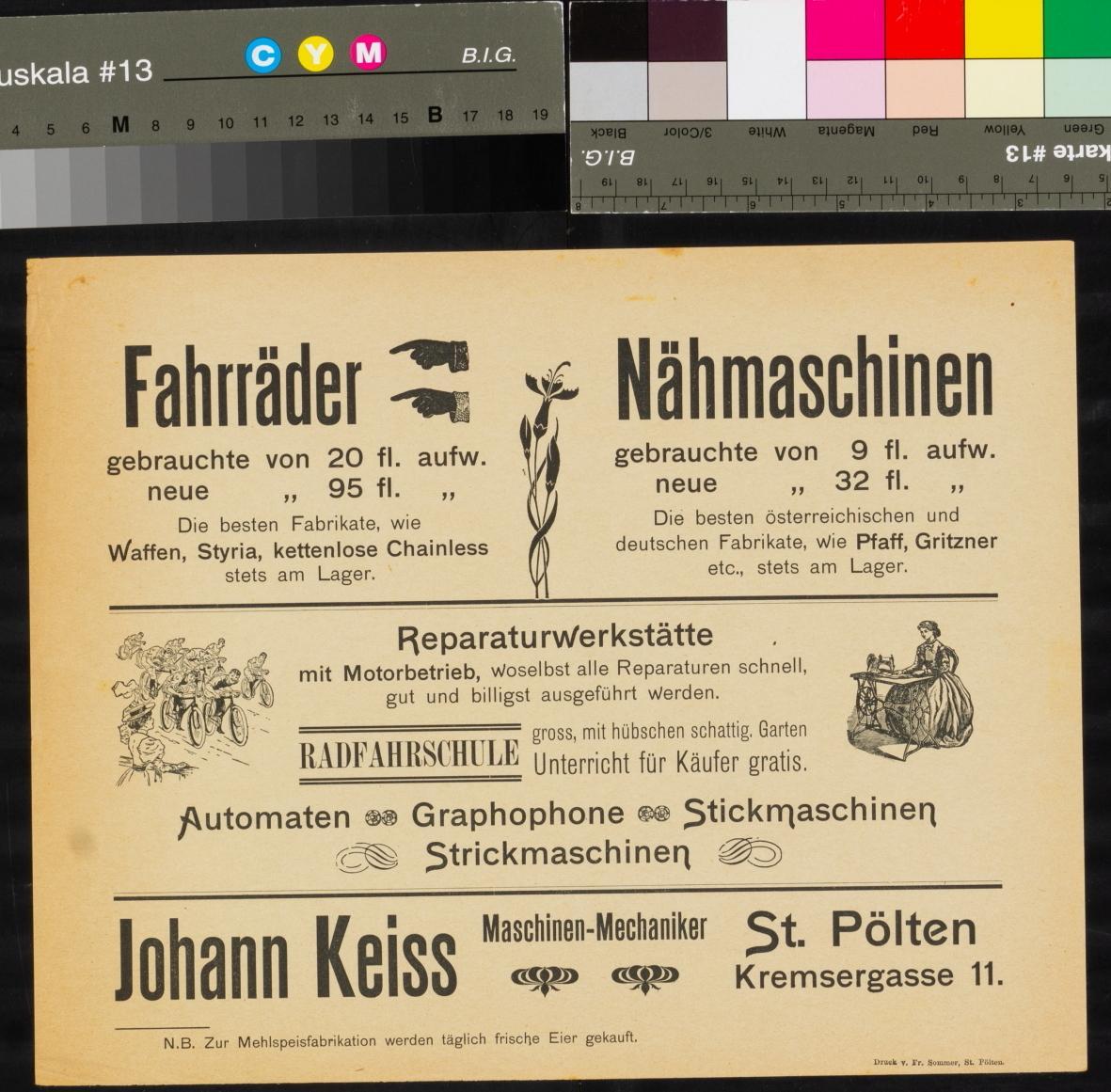 Werbung, Fahrräder und Nähmaschinen, Verkauf, Reparaturwerkstätte, Radfahrschule, Johann Keiss, St. Pölten, Kremsergasse 11