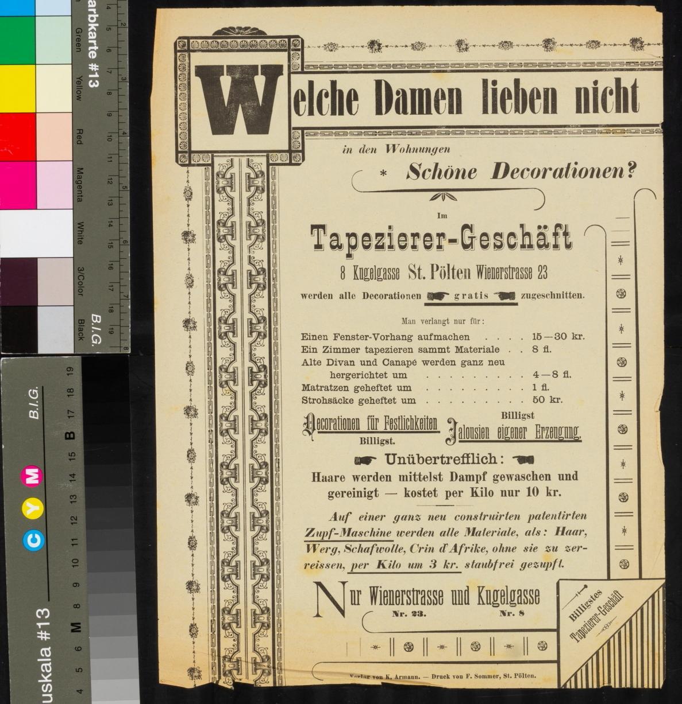 Werbung, Tapezierer-Geschäft, Decorationen, Jalousien, St. Pölten, Wienerstrasse 23, Kugelgasse 8