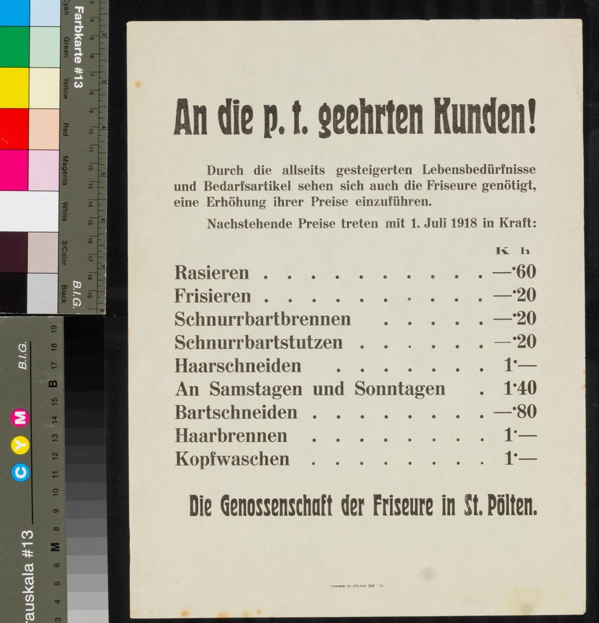 Kundmachung, Preiserhöhung der Genossenschaft der Friseure, 1. Juli 1918, St. Pölten