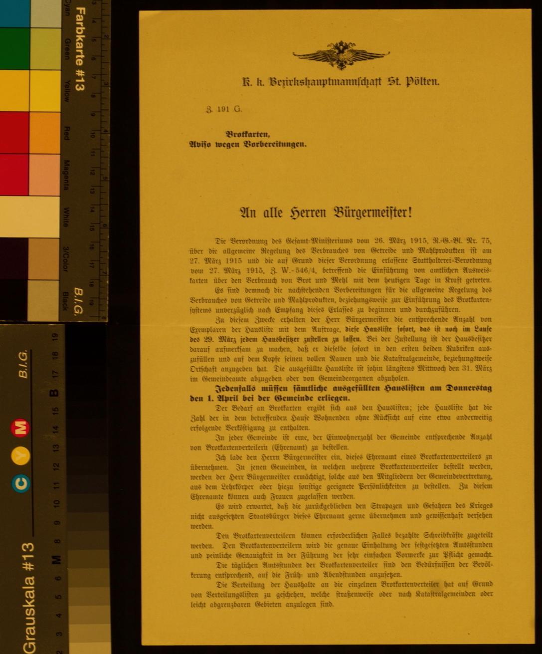 Kundmachung, Vorbereitungen zur Ausgabe von Brotkarten, 28. März 1915, Z. 191 G., k. k. Bezirkshauptmannschaft St. Pölten