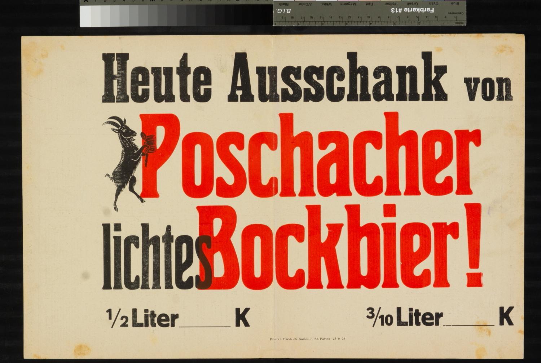 Werbung, Ausschank von Poschacher Bockbier, St. Pölten