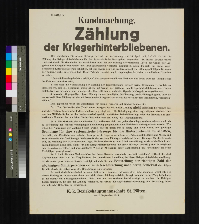Kundmachung, Zählung der Kriegshinterbliebenen, 2. September 1918, Z. 3077 / 6 M., k. k. Bezirkshauptmannschaft St. Pölten