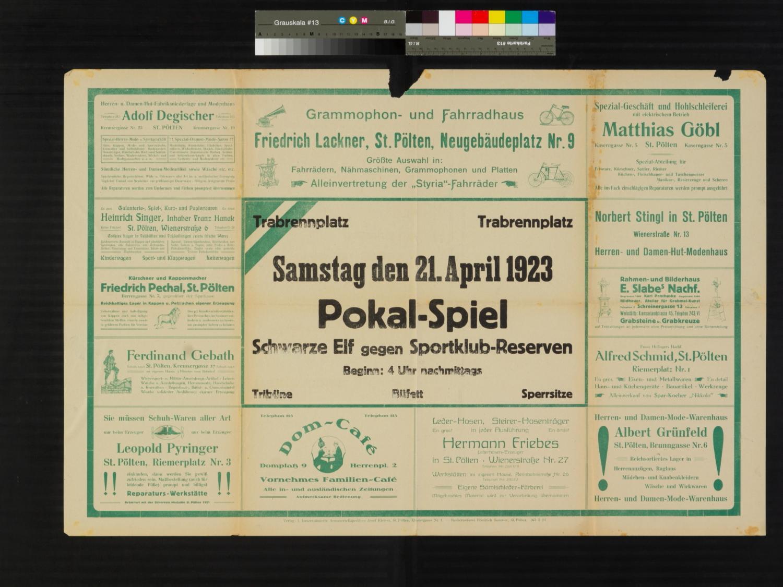 Veranstaltungsankündigung, Pokal-Spiel der Schwarze Elf gegen Sportklub-Reserven, 21. April 1923, St. Pölten, Trabrennplatz