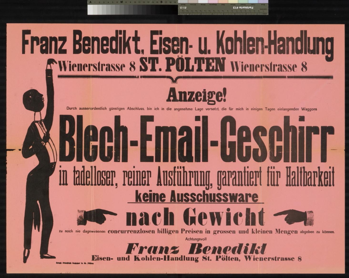 Werbung, Blech - Email - Geschirr bei Franz Benedikt, Eisen- und Kohlen-Handlung, St. Pölten, Wienerstrasse 8
