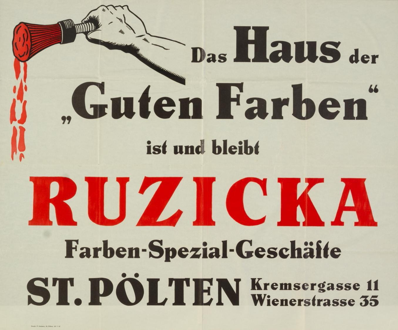 """Werbung, """"Das Haus der Guten Farben"""", Farben-Spezialgeschäfte Ruzicka, St. Pölten, Kremsergasse 11, Wienerstrasse 35"""
