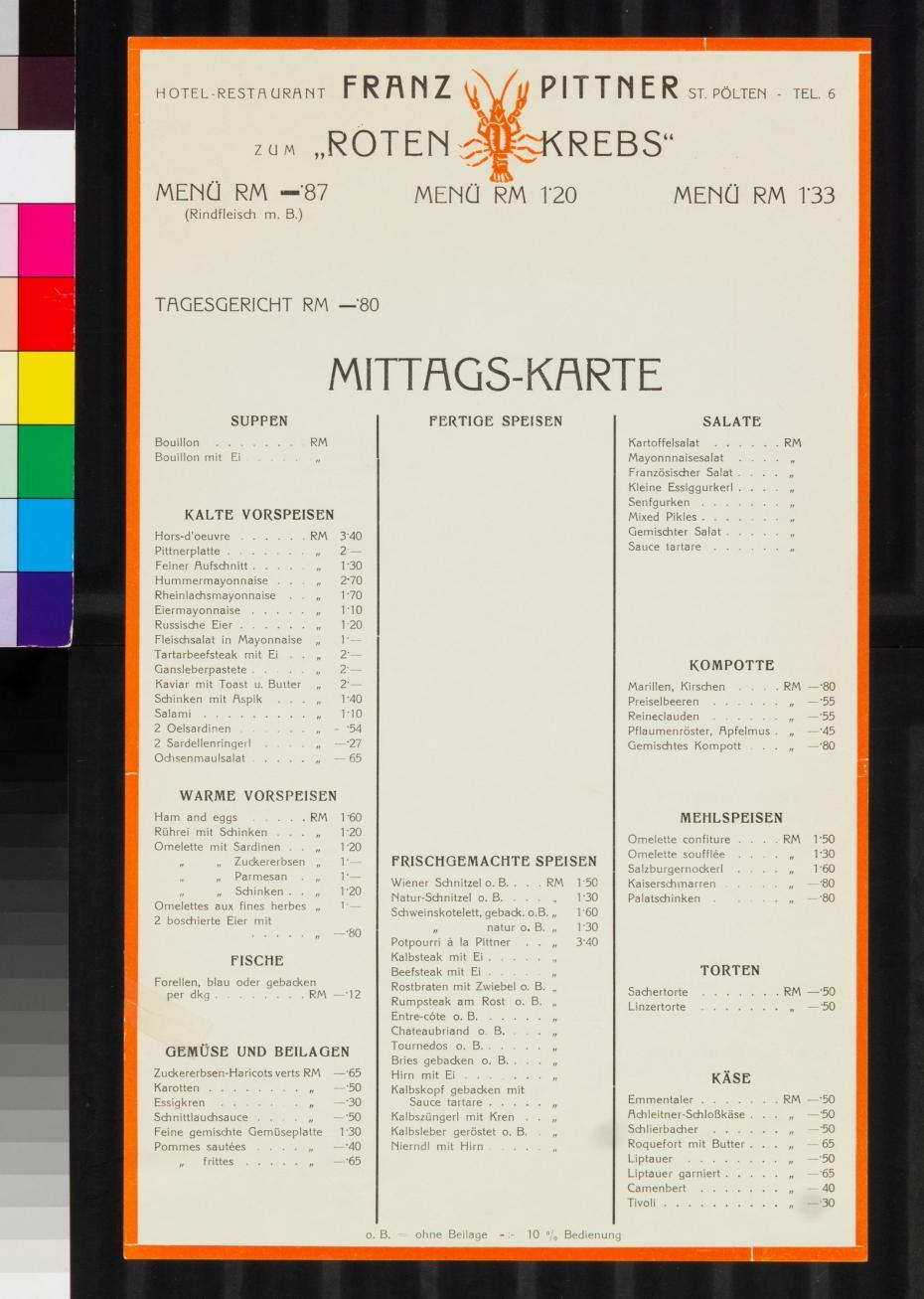 """Speisenkarte, (nach 1938), Hotel - Restaurant Franz Pittner """"Zum roten Krebs"""", St. Pölten"""