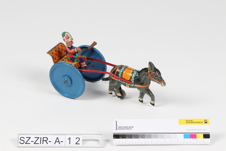 Esel mit Wagen und Clown