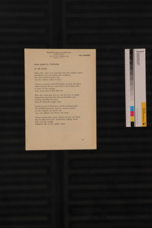 Josef Weinheber: Seven Poems