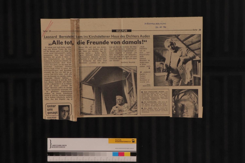 Zeitungsberichte über Auden post mortem