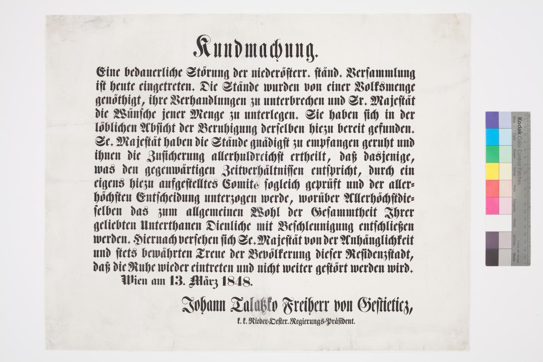 Kundmachung Märzrevolution 13. März 1848