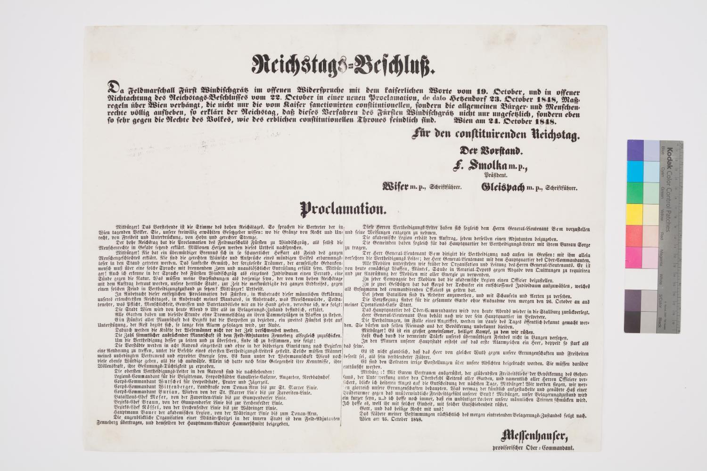 Der Oberkommandant der Nationalgarde Messenhauser veröffentlicht das Ultimatum des Fürsten Windischgrätz an die Wiener Bevölkerung; 24. Oktober 1848