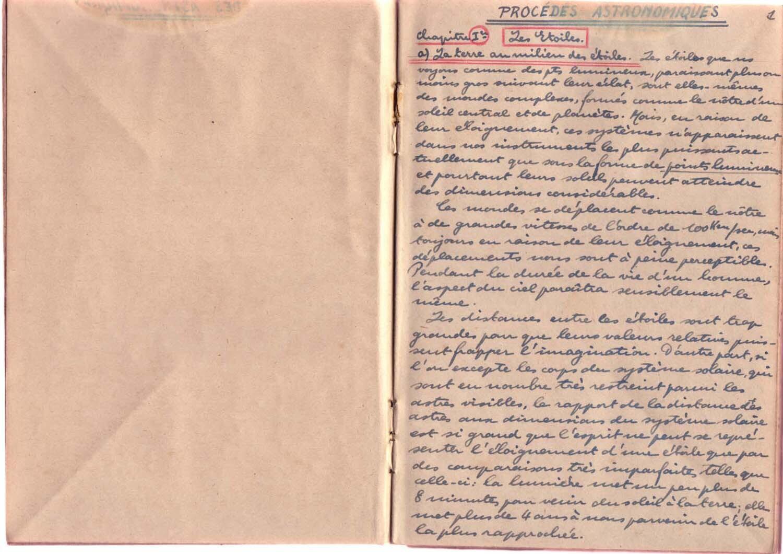 Schreibheft (Notizen zu Studien der Astronomie)