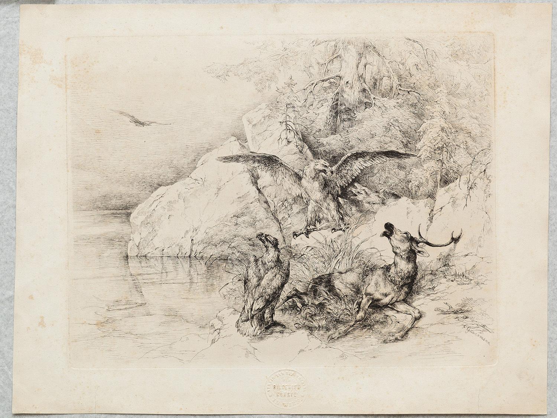 Hirsch mit 2 Adler
